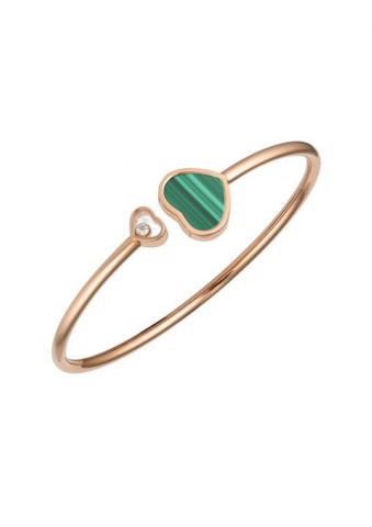Chopard Happy Hearts Bangle Rose Gold Diamond - Natural Malachite