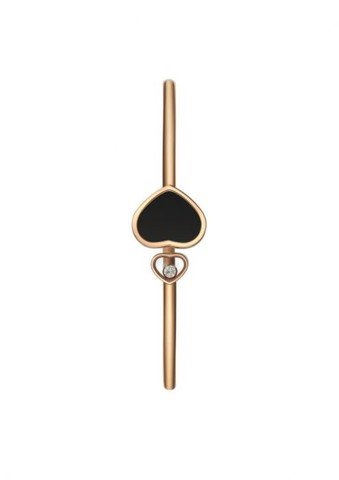 Chopard Happy Hearts Bangle Rose Gold Diamond - Natural Black Onyx