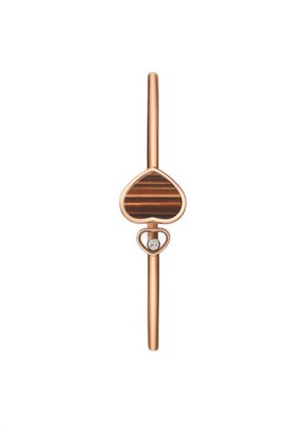 Chopard Happy Hearts Bangle Rose Gold Diamond - Natural Tiger's Eye