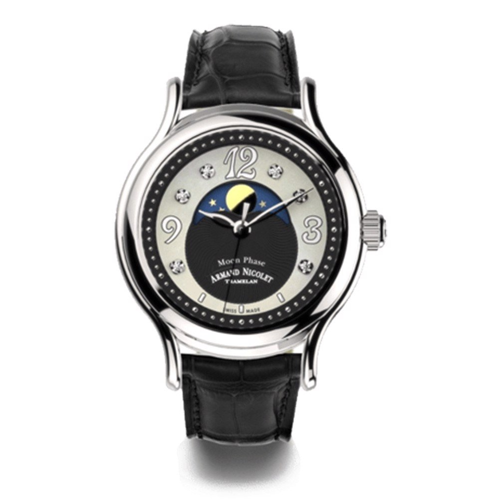 Đồng hồ nữ Armand Nicolet AL3 Steel 316L with Black Leather Strap 38mm
