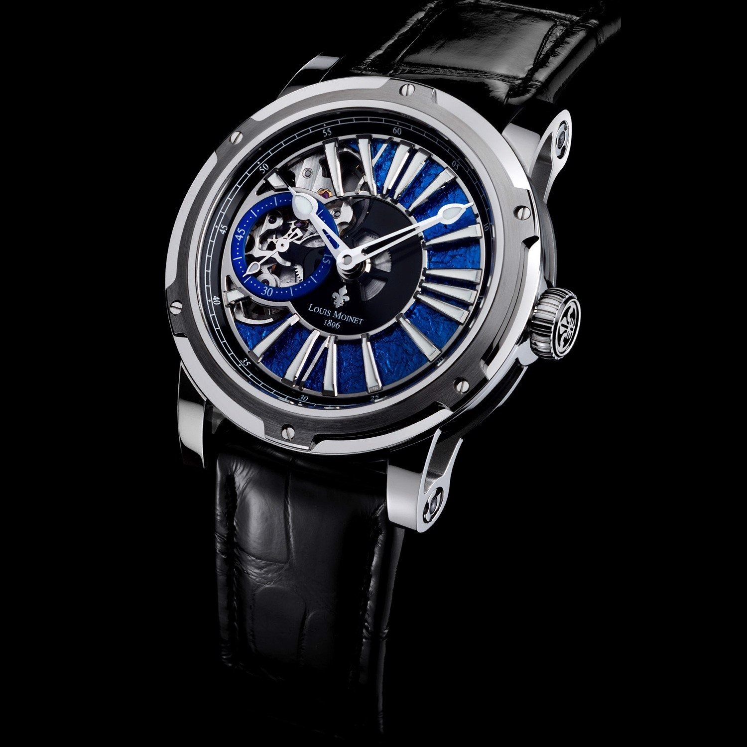 Đồng hồ nam Louis Moinet Metropolis Steel Magic Blue 43.2mm