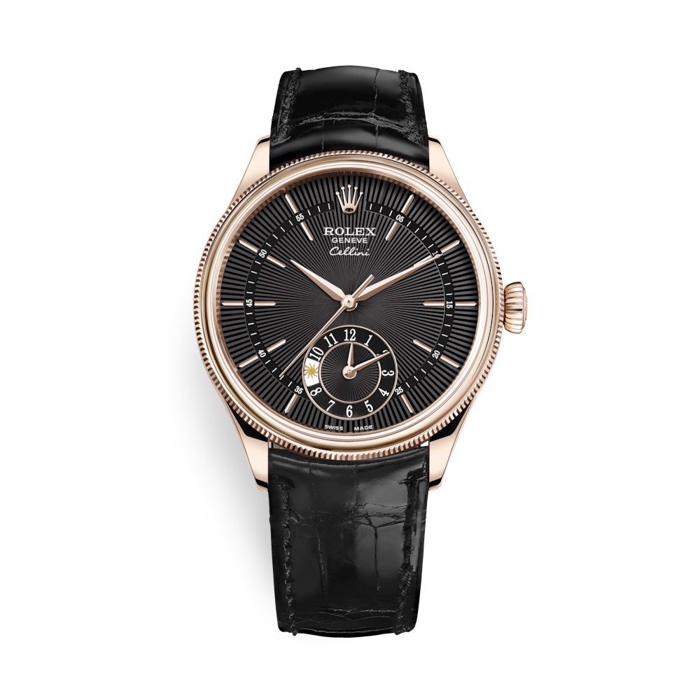 Rolex Cellini Dual Time 39mm Rose Gold Black Black 50525-0011