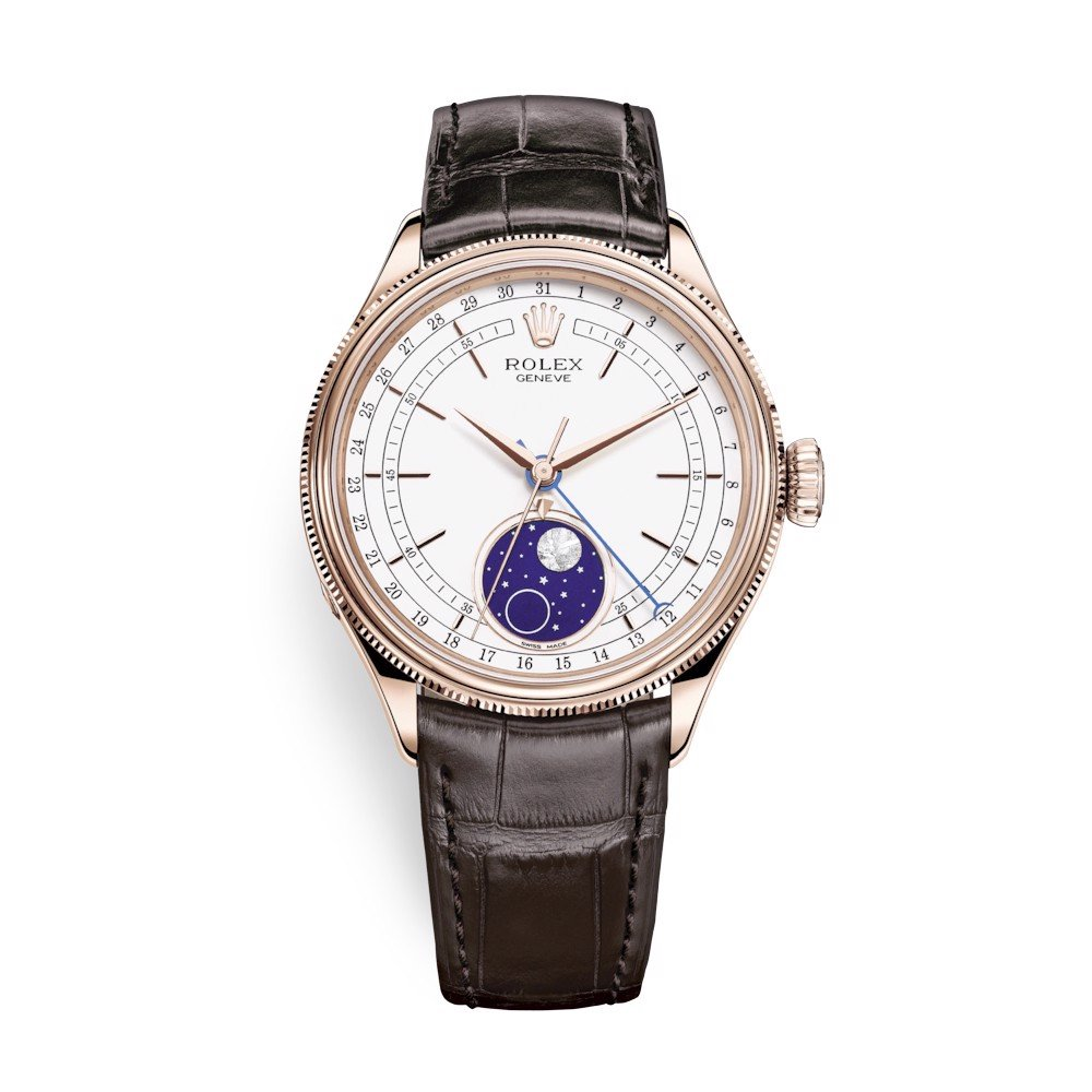 Rolex Cellini Moonphase 39mm White Brown Strap 50535-0002