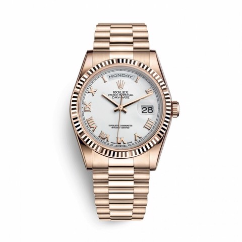 Rolex Day-Date 36mm Everose Gold White Roman President 118235
