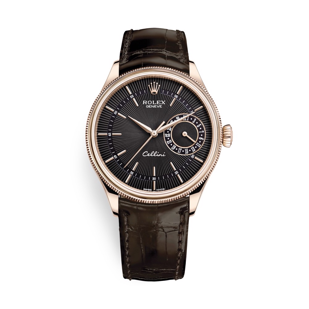 Rolex Cellini Date 39mm Rose Gold Black Brown 50515-0010