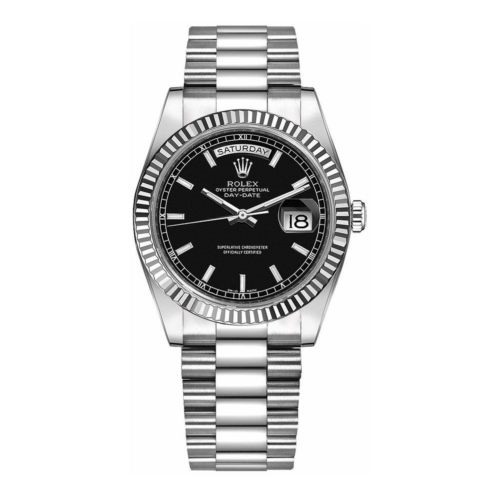 Rolex Day-Date 36mm White Gold Black Index President 118239