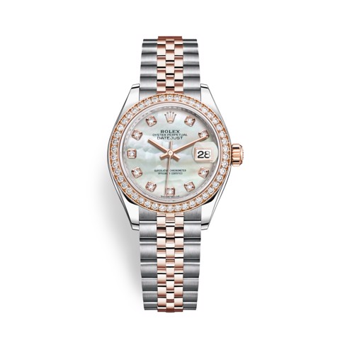 Rolex Lady Datejust 28mm Stainless Steel and Everose Gold MOP 279381RBR-0013