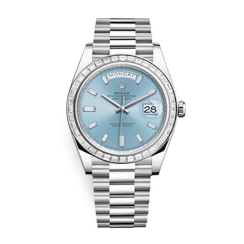 Rolex Day-Date 40mm Platinum Ice Blue Baguette 228396TBR-0002