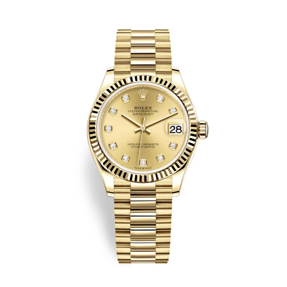 Rolex Datejust 31mm Yellow Gold Diamonds Champagne 278278-0009