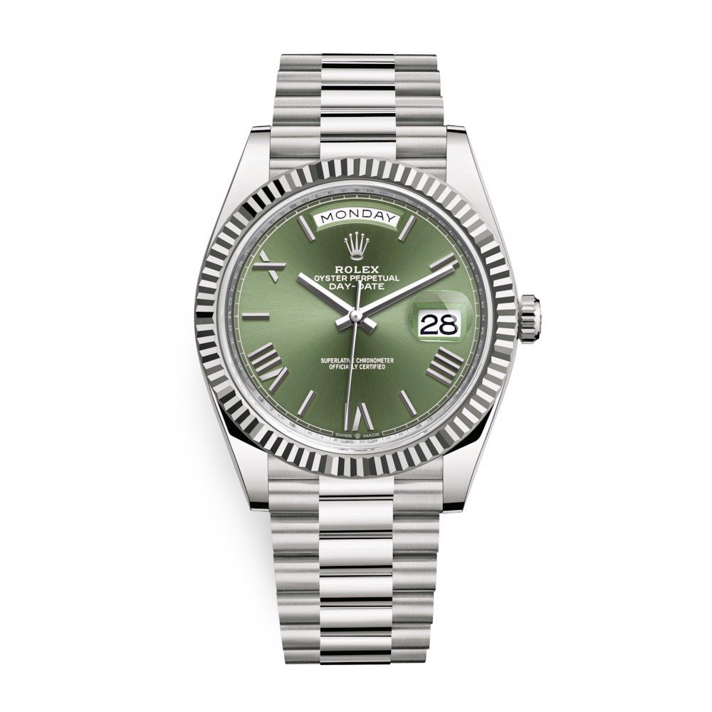 Rolex Day-Date 40mm White Gold Olive Green Roman 228239-0033
