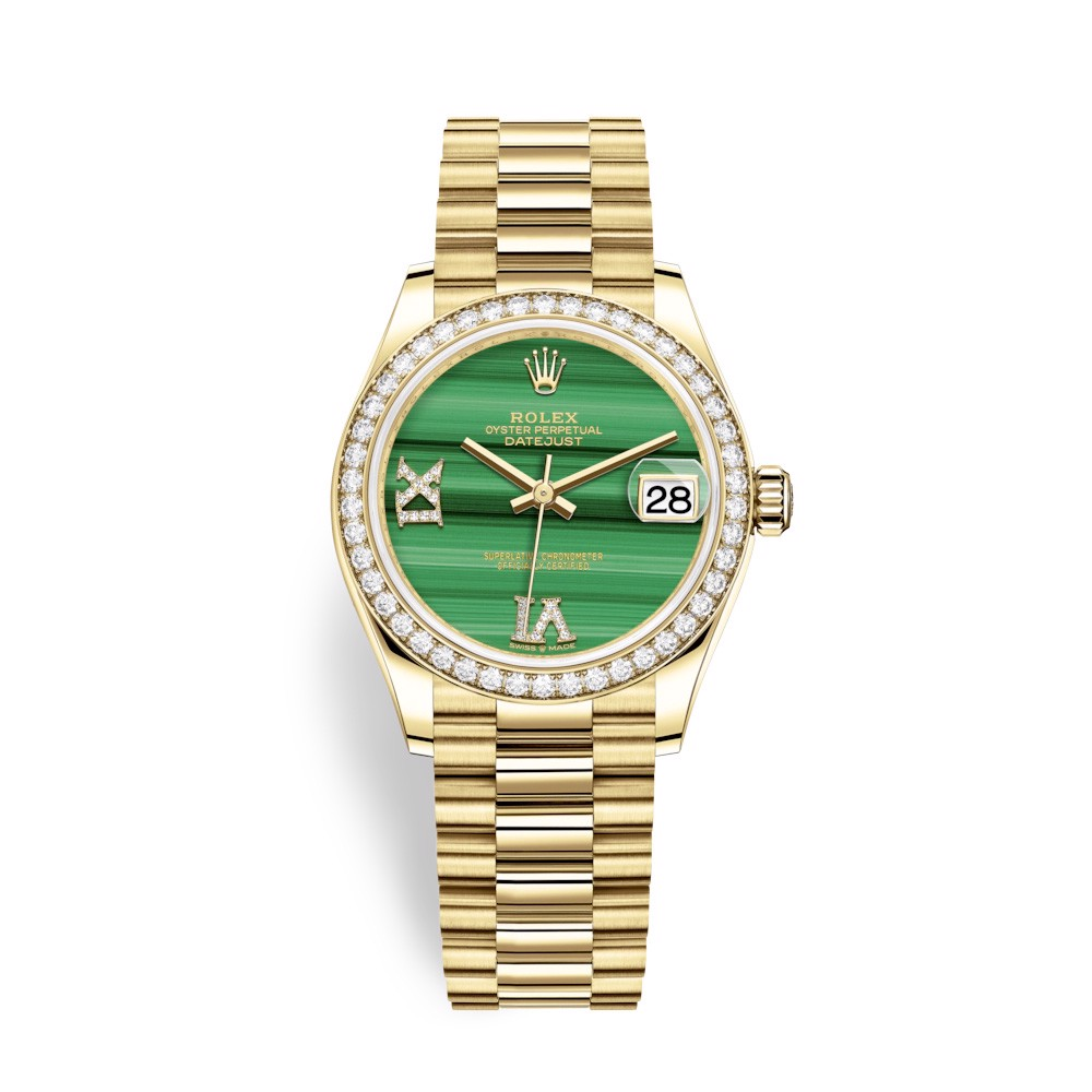 Rolex Datejust 31mm Yellow Gold Diamonds Green Malachite 278288RBR-0004