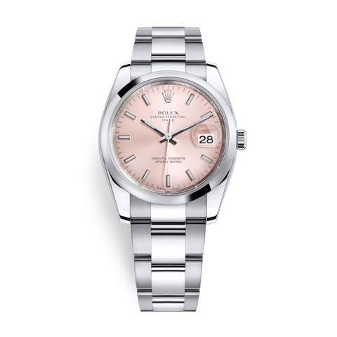 Rolex Date 34mm Stainless Steel Pink 115200-0005
