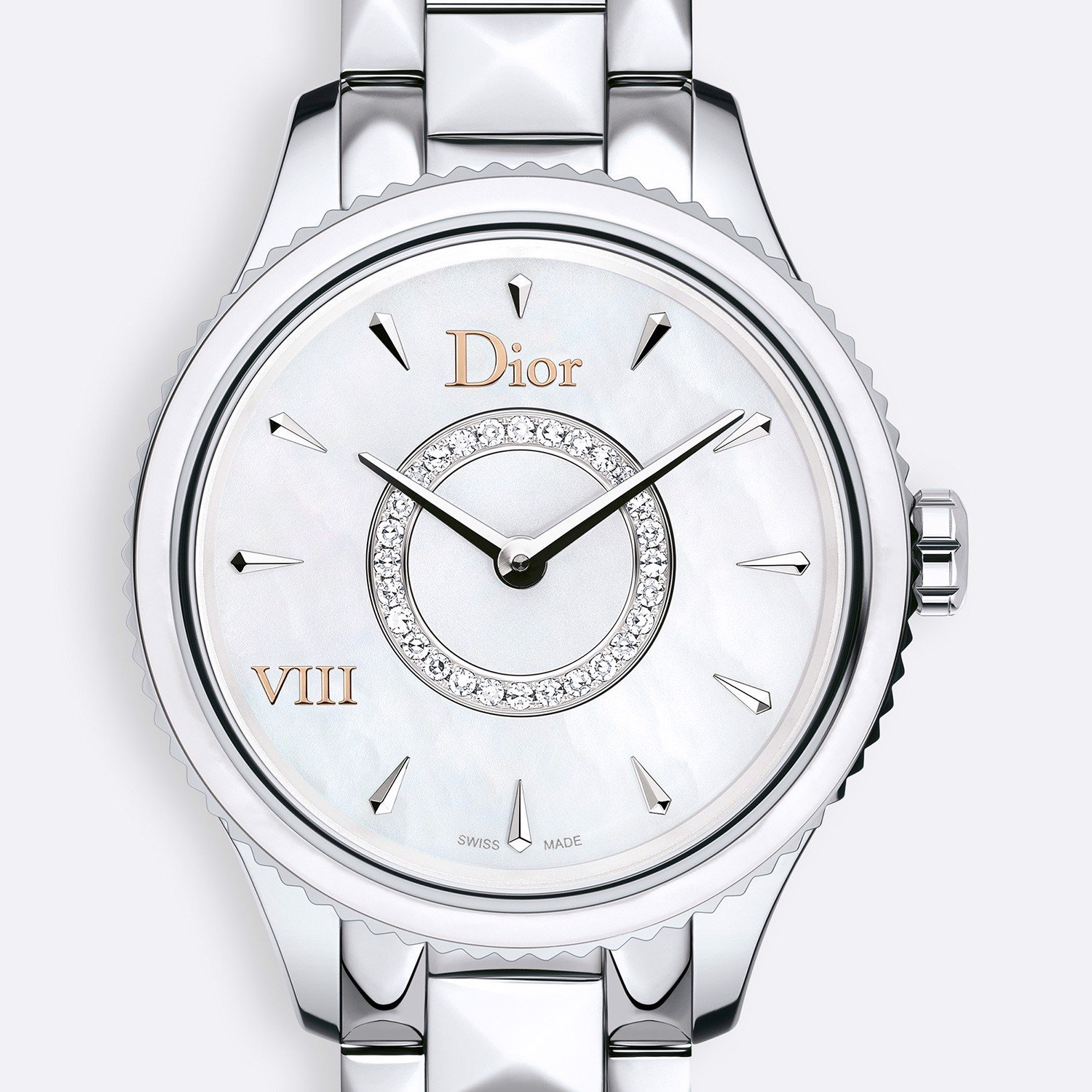 Đồng hồ nữ Dior VIII Montaigne Diamonds Steel Bracelet White Dial Ø 25mm