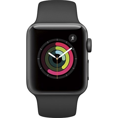 Apple Watch SERIE 2 (42mm) Space Gray Aluminum Case with Black Sport Band( MP022)