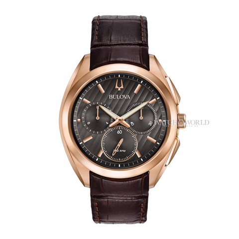 BULOVA CURV Chronograph 262kHz Sapphire Crystal Leather 45mm - Mens Watch