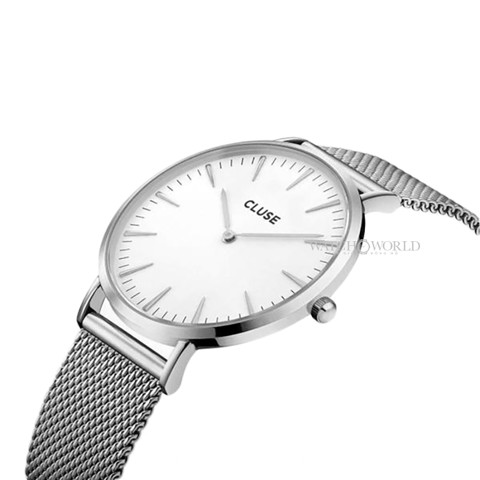 CLUSE La Boheme MESH SILVER/WHITE 38mm - Ladies Watch