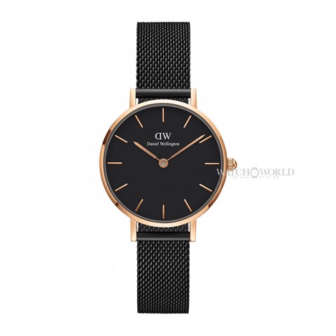 DANIEL WELLINGTON - Petite ASHFIELD Black 28mm Rose Gold - Ladies Watch