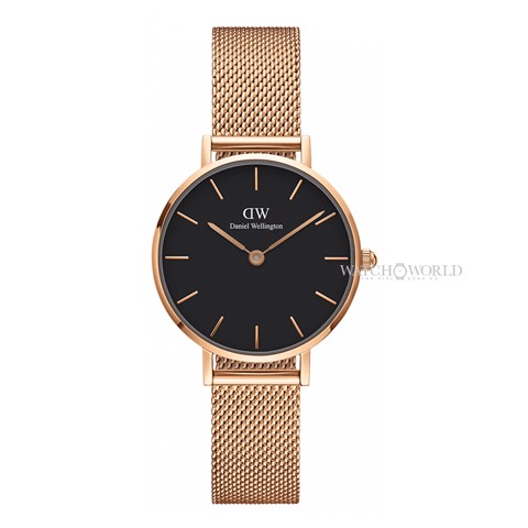 DANIEL WELLINGTON - Petite MELROSE Black 28mm Rose Gold - Ladies Watch