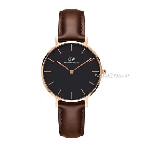DANIEL WELLINGTON - Petite BRISTOL Black 32mm Rose Gold - Ladies Watch