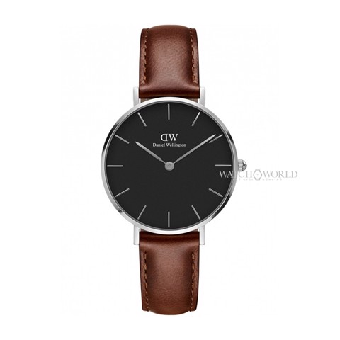DANIEL WELLINGTON - Petite ST MAWES Black DW00100181 32mm Silver - Ladies Watch