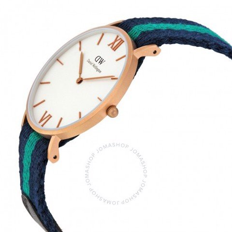 DANIEL WELLINGTON - Grace Warwick White Dial Blue and Green Nylon Unisex Watch
