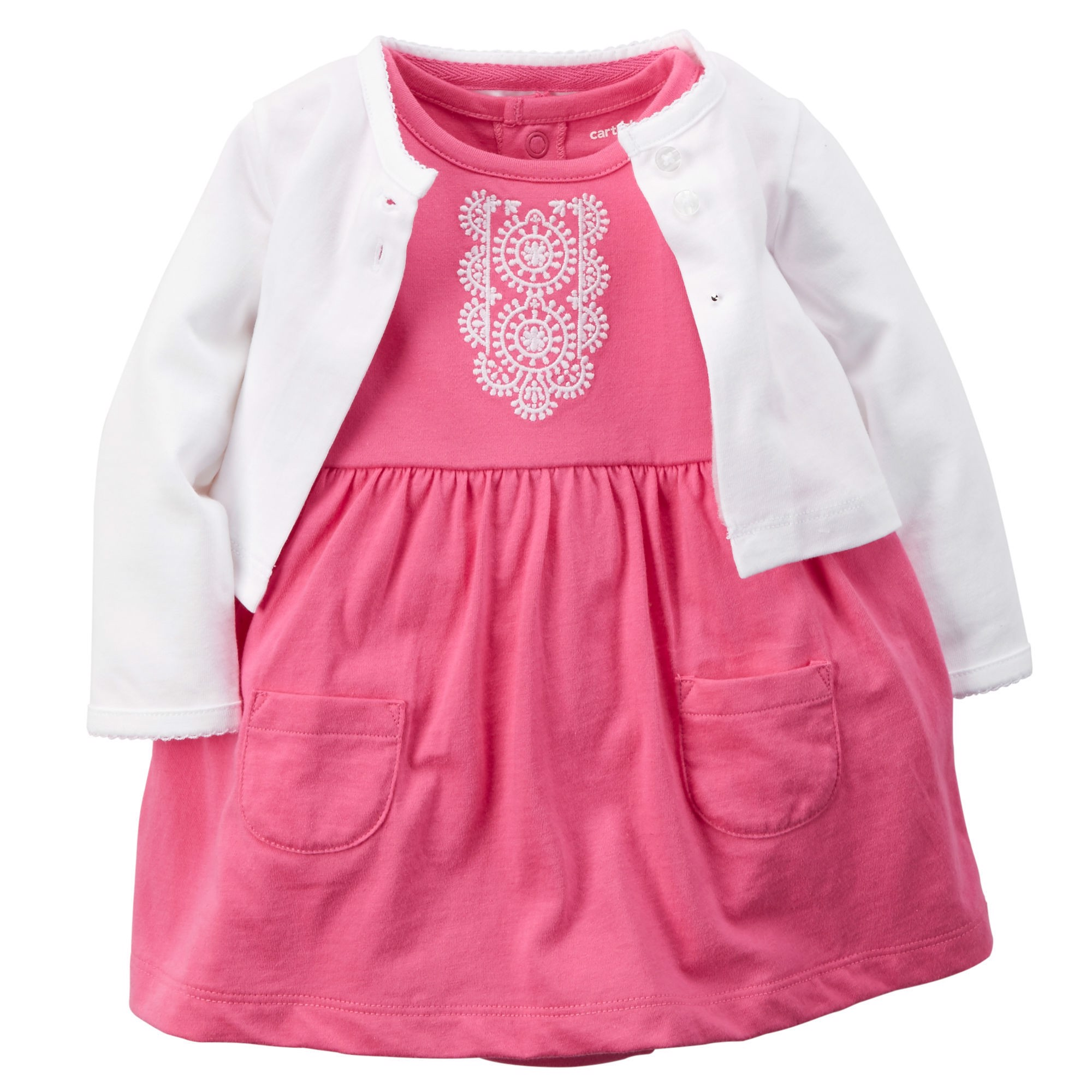 Đầm bé gái Carter's Bodysuit Dress & Cardigan Set