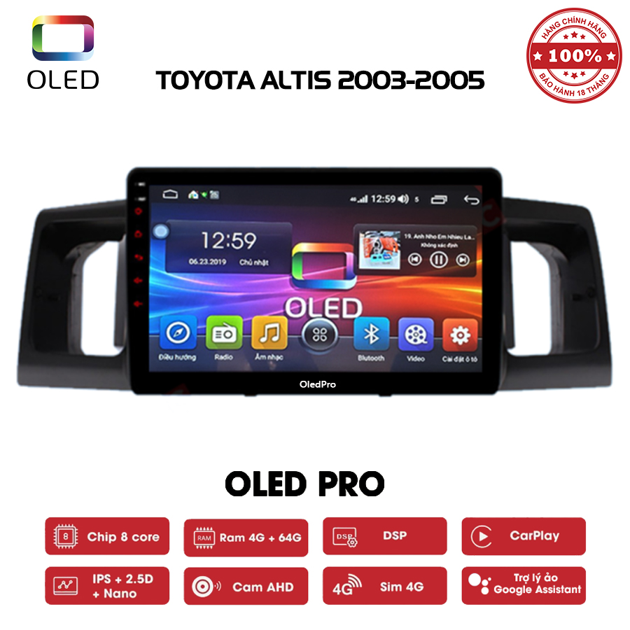 DVD OLED Pro S500 cho xe Toyota Altis 2003-2005