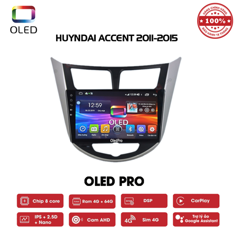 DVD OLED Pro S500 cho xe Huyndai Accent 2011-2015