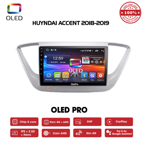 DVD OLED Pro S500 cho xe Huyndai Accent 2018-2019