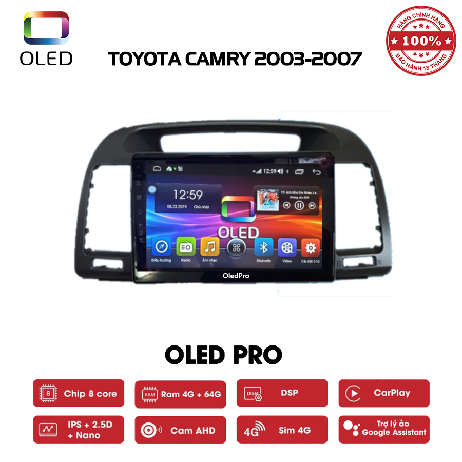 DVD OLED Pro S500 cho xe Toyota Camry 2003-2007