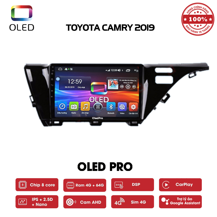DVD OLED Pro S500 cho xe Toyota Camry 2019