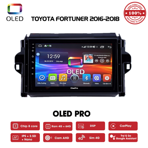 DVD OLED Pro S500 cho xe Toyota Fortuner 2016-2018