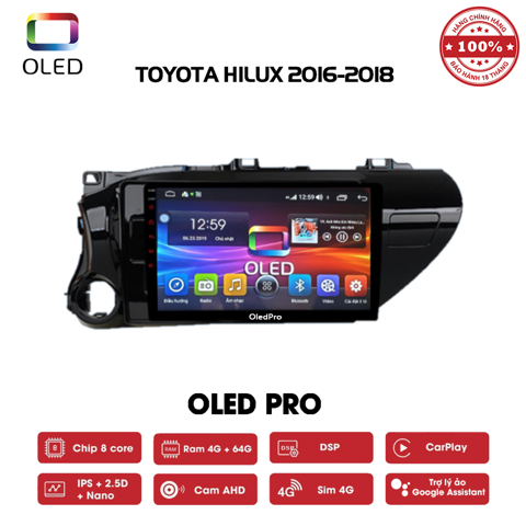 DVD OLED Pro S500 cho xe Toyota Hilux 2016-2018
