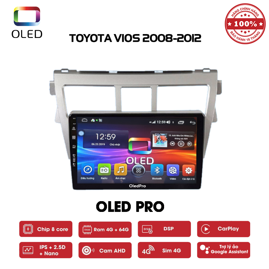 DVD OLED Pro S500 cho xe Toyota Vios 2008-2012