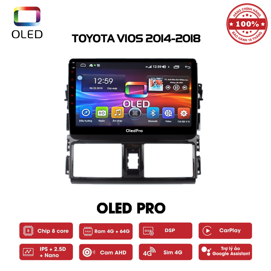 DVD OLED Pro S500 cho xe Toyota Vios 2014-2018