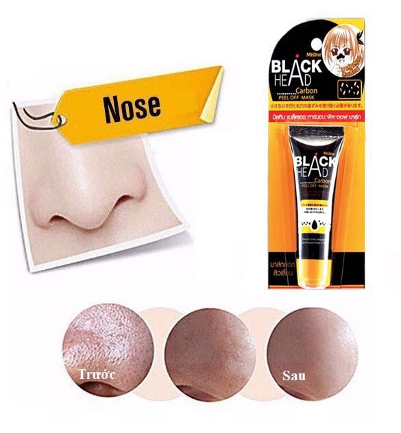 Gel mặt nạ than lột mụn Mistine Black Head Carbon Peel Off Mask 10ml