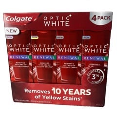 Kem đánh răng Colgate Optic White Renewal của Mỹ 116g (Removes 10 years of yellow stains)