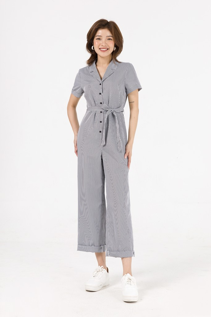 Jumpsuit cổ 2 ve, nơ eo