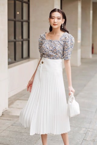 Wrap Pleated Skirt
