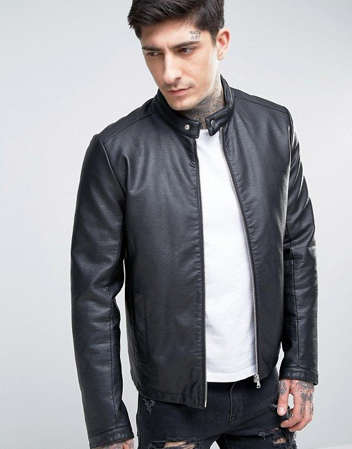 Áo khoác da Faux Leather Racing Jacket