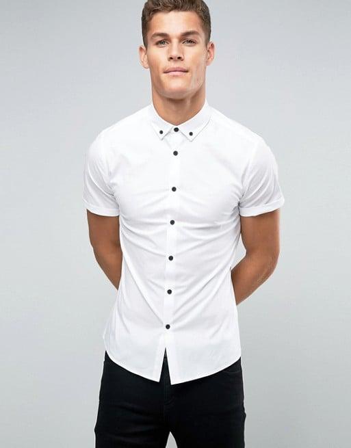 Áo sơ-mi Skinny Shirt In White With Contrast Buttons