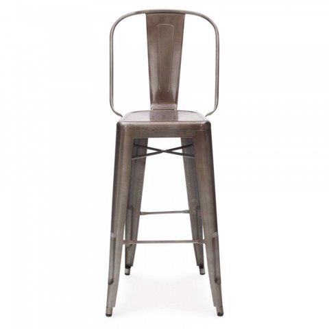 Tolix Stool With Backrest