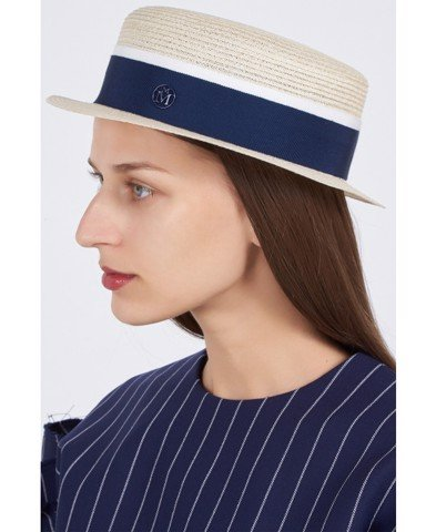Auguste Hat Straw Timeless Thin Canapa Straw Natural Navy