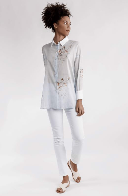 LONG COTTON PSYCHE SHIRT - SILOE