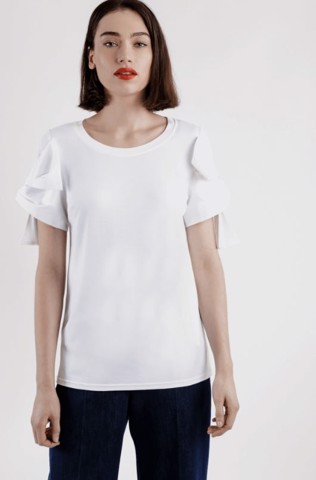 T-SHIRT WITH BOW-EMBELLISHED SLEEVES - DVD
