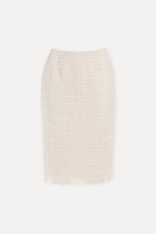 Beige tweed pencil skirt - MARIATA GREGE