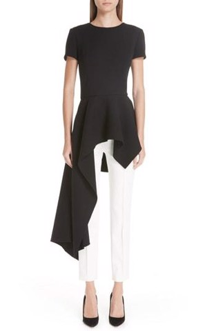 Asymmetrical Peplum Hem Stretch Wool Top