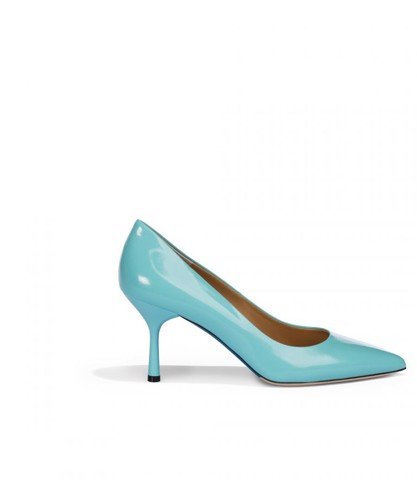AQUA BLUE PATENT LEATHER PUMPS
