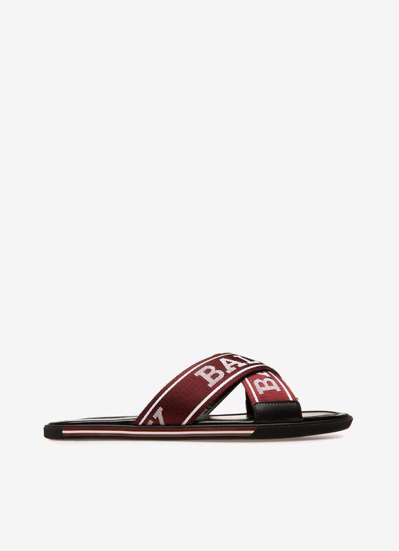 LEATHER SANDALS IN BALLY RED