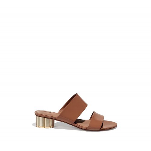 TWO-BANDED FLOWER HEEL SANDAL